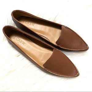 J. Crew brown leather pointy toe flats